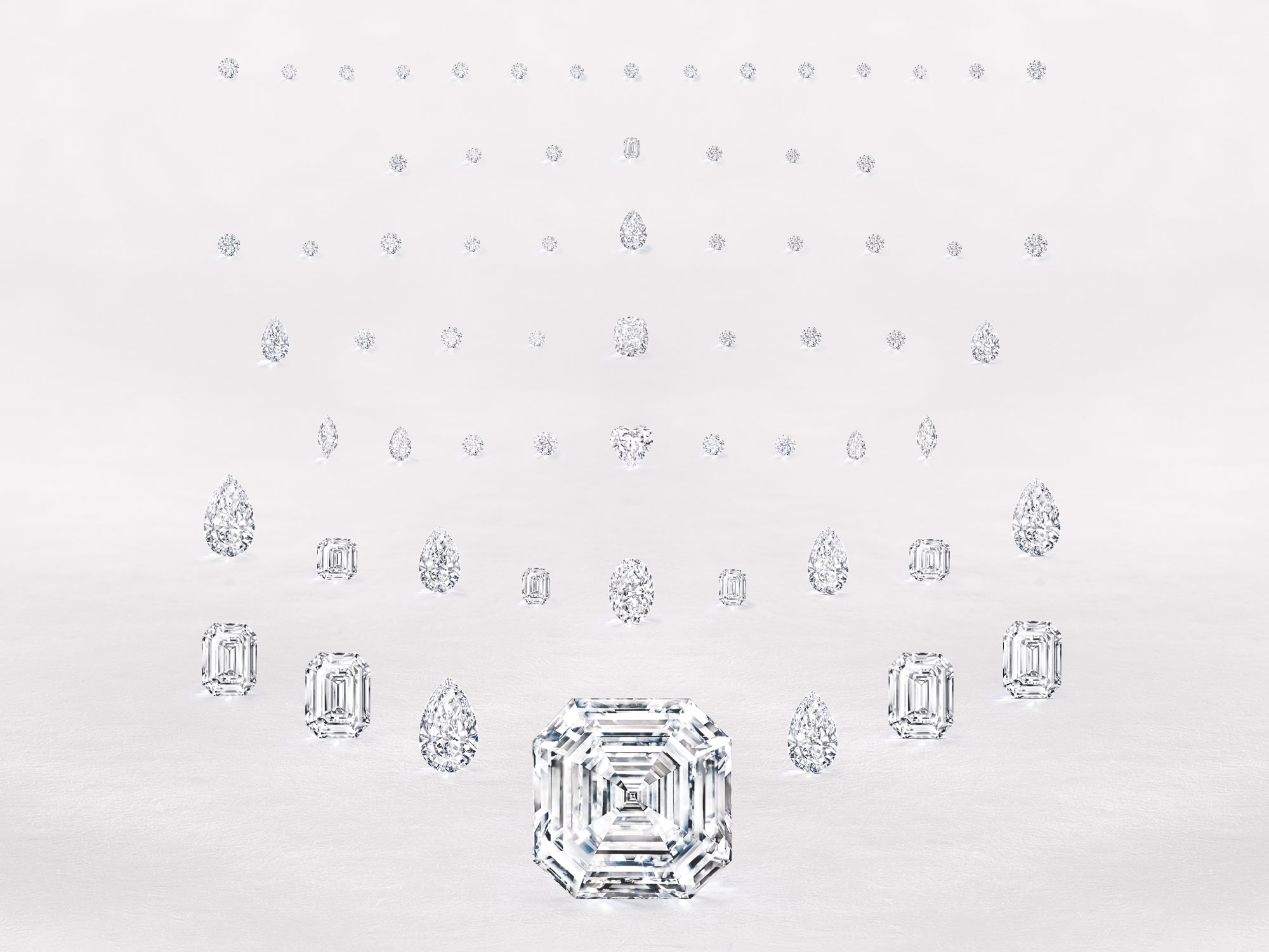 different shapes of Graff unique diamonds.
