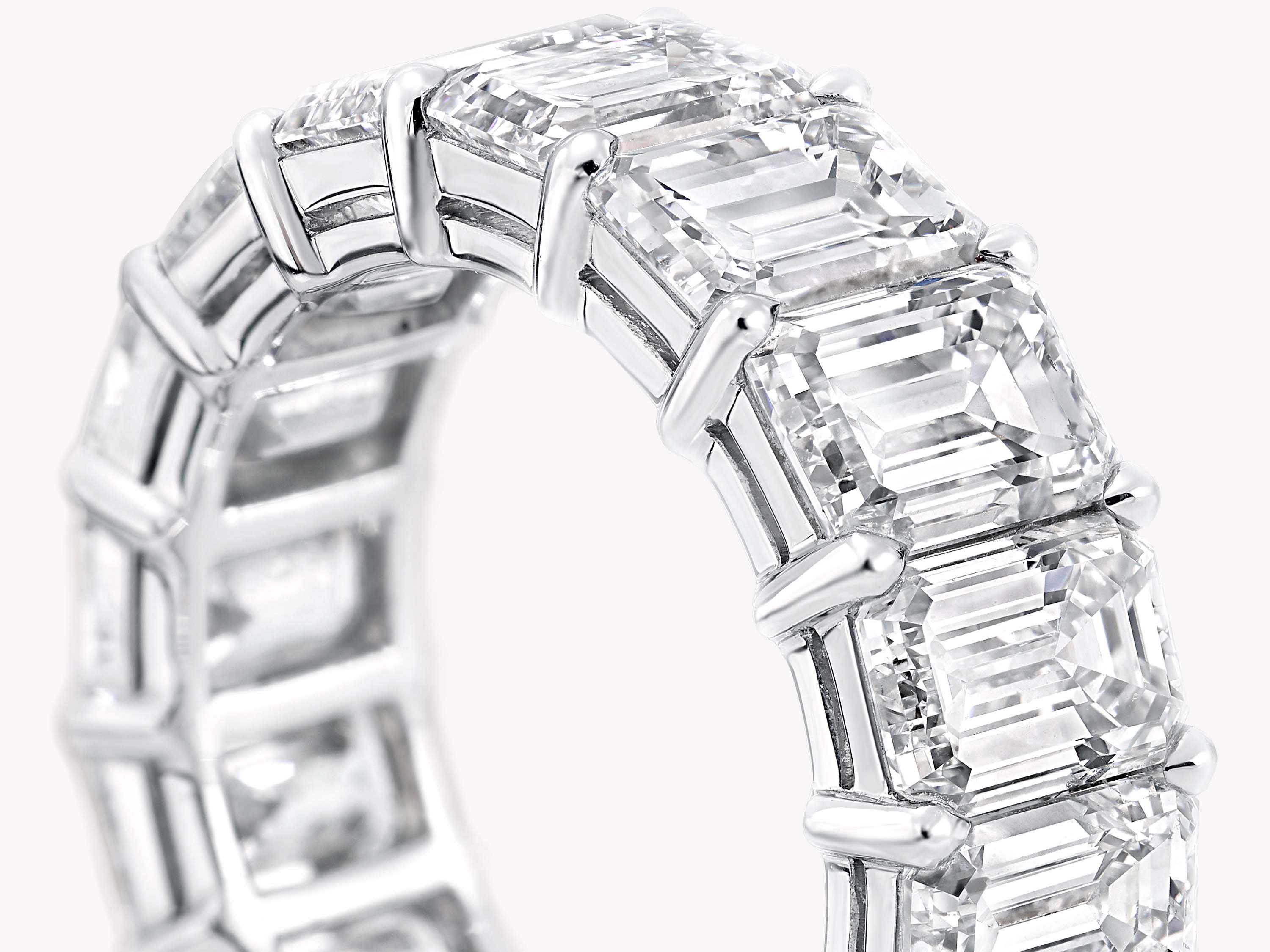 Graff Emerald Cut Diamond Wedding Band PLATINUM
