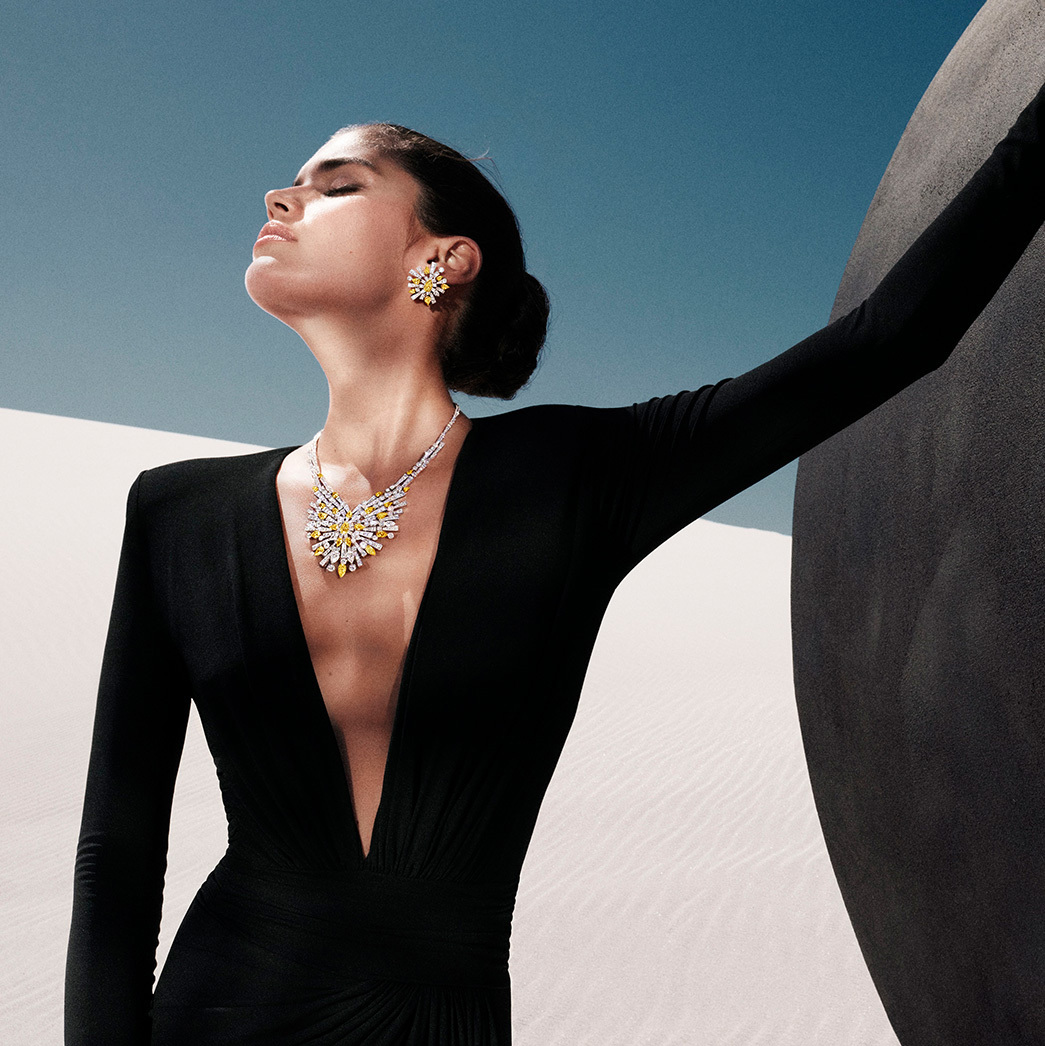 Sara Sampaio wears Night Moon jewels from the Tribal collection, fuse light and dark, shape and space, art and sculpture