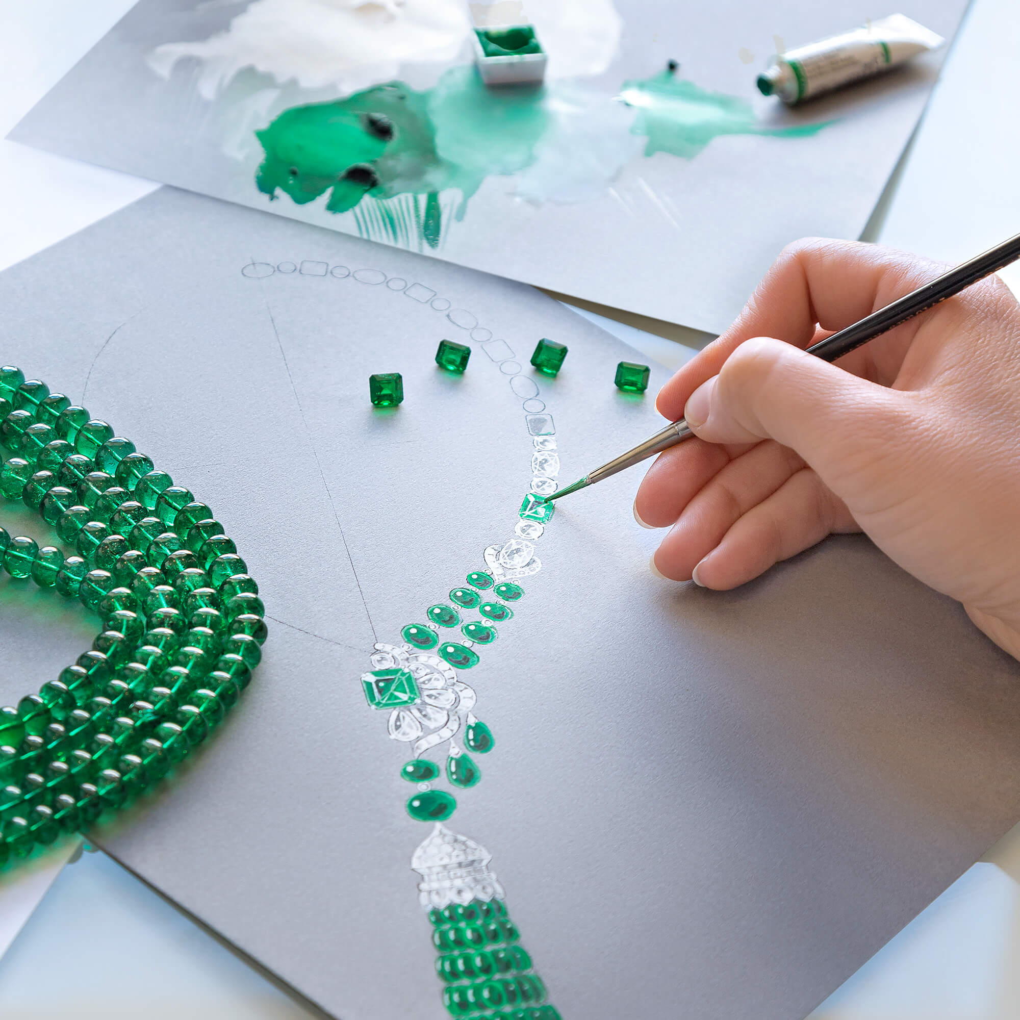 Graff Designer sketches a Graff high jewellery necklace made of emeralds and diamonds.