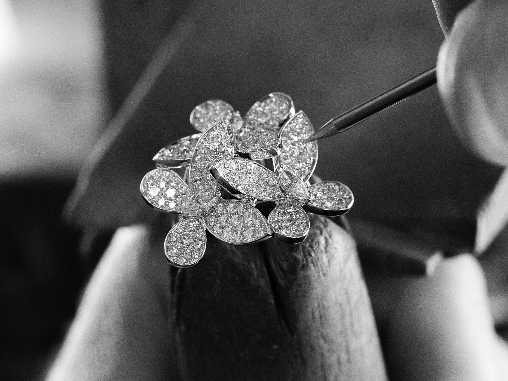 Graff Triple Pavé Butterfly Diamond Ring in the making.