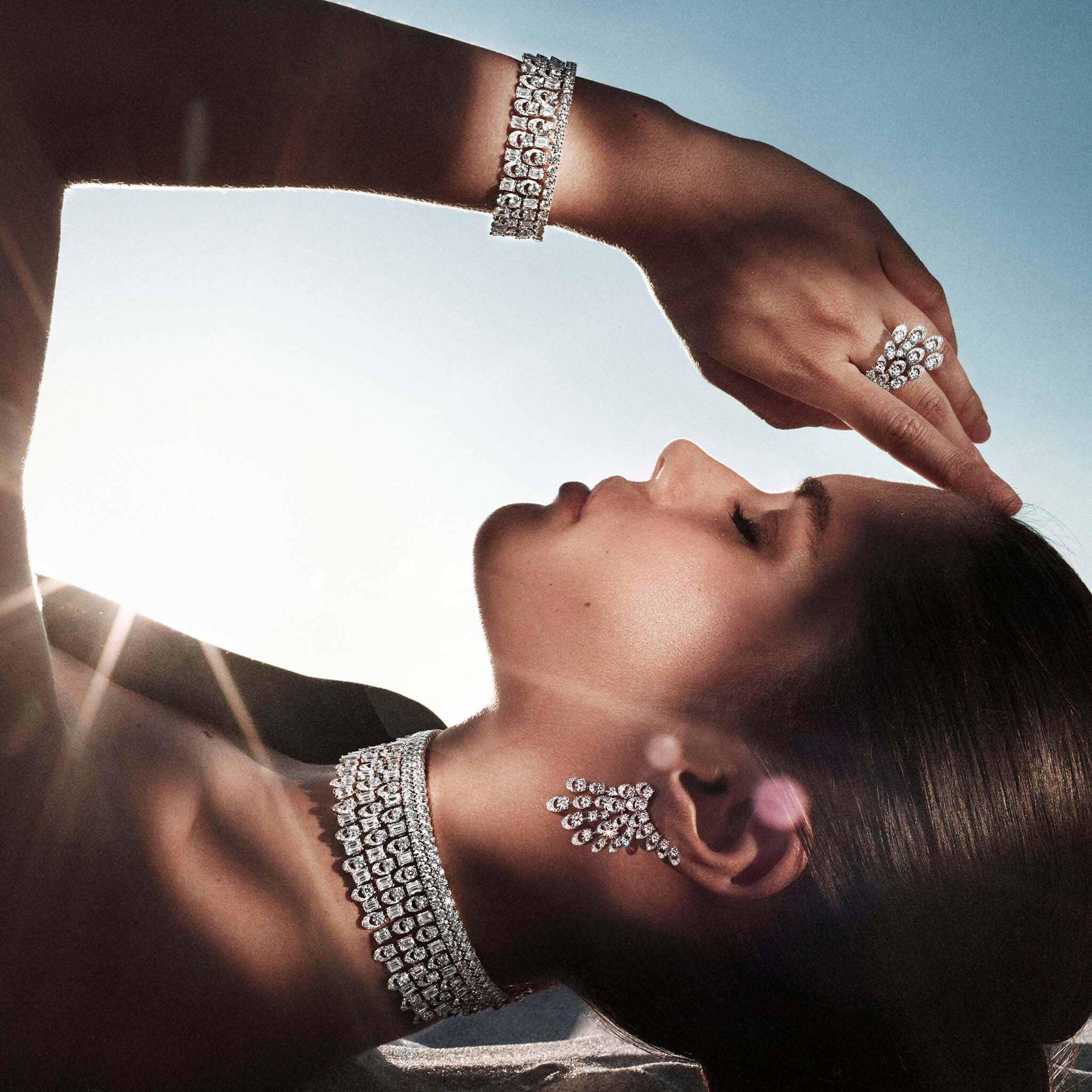 Sara Sampaio wears Graff Gateway diamond jewels from the Tribal collection