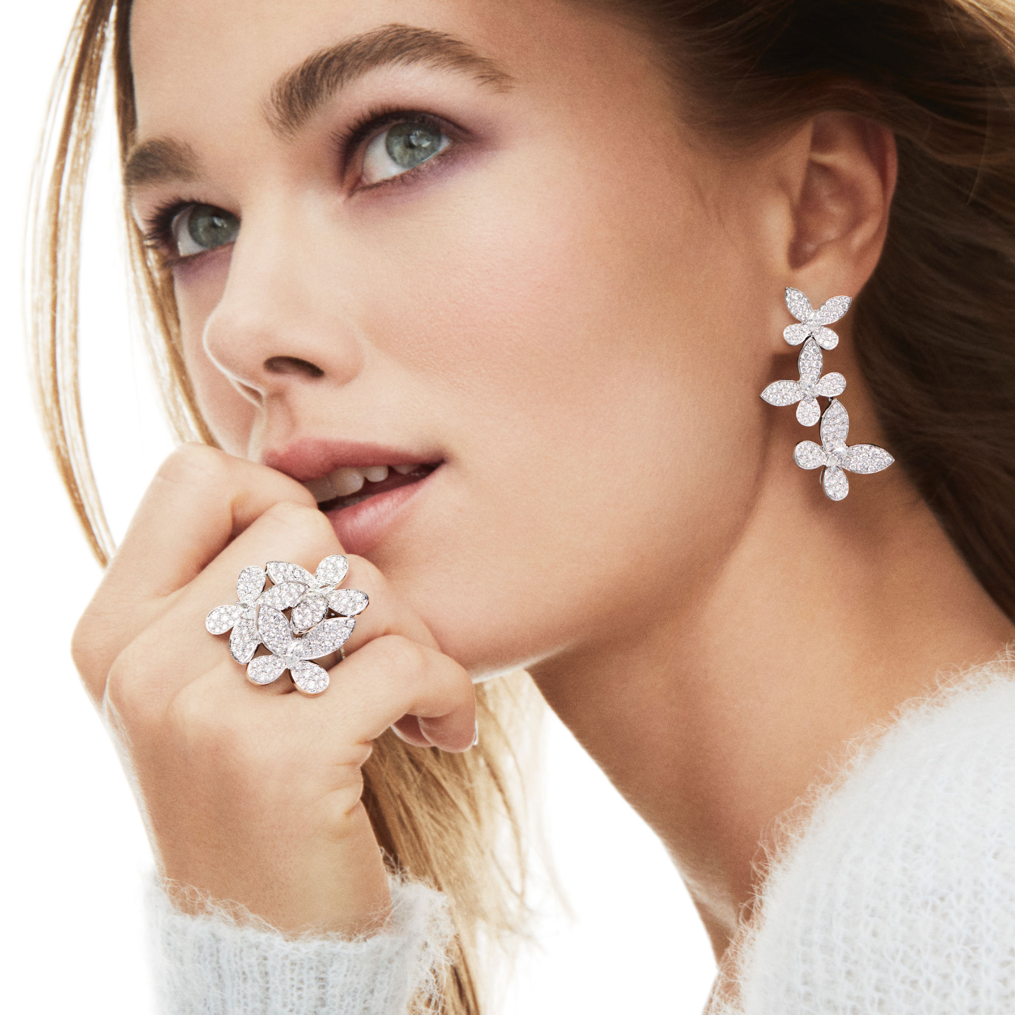 Model Wearing Triple Pavé Butterfly Diamond Drop Earrings Graff Triple Pavé Butterfly Diamond Ring
