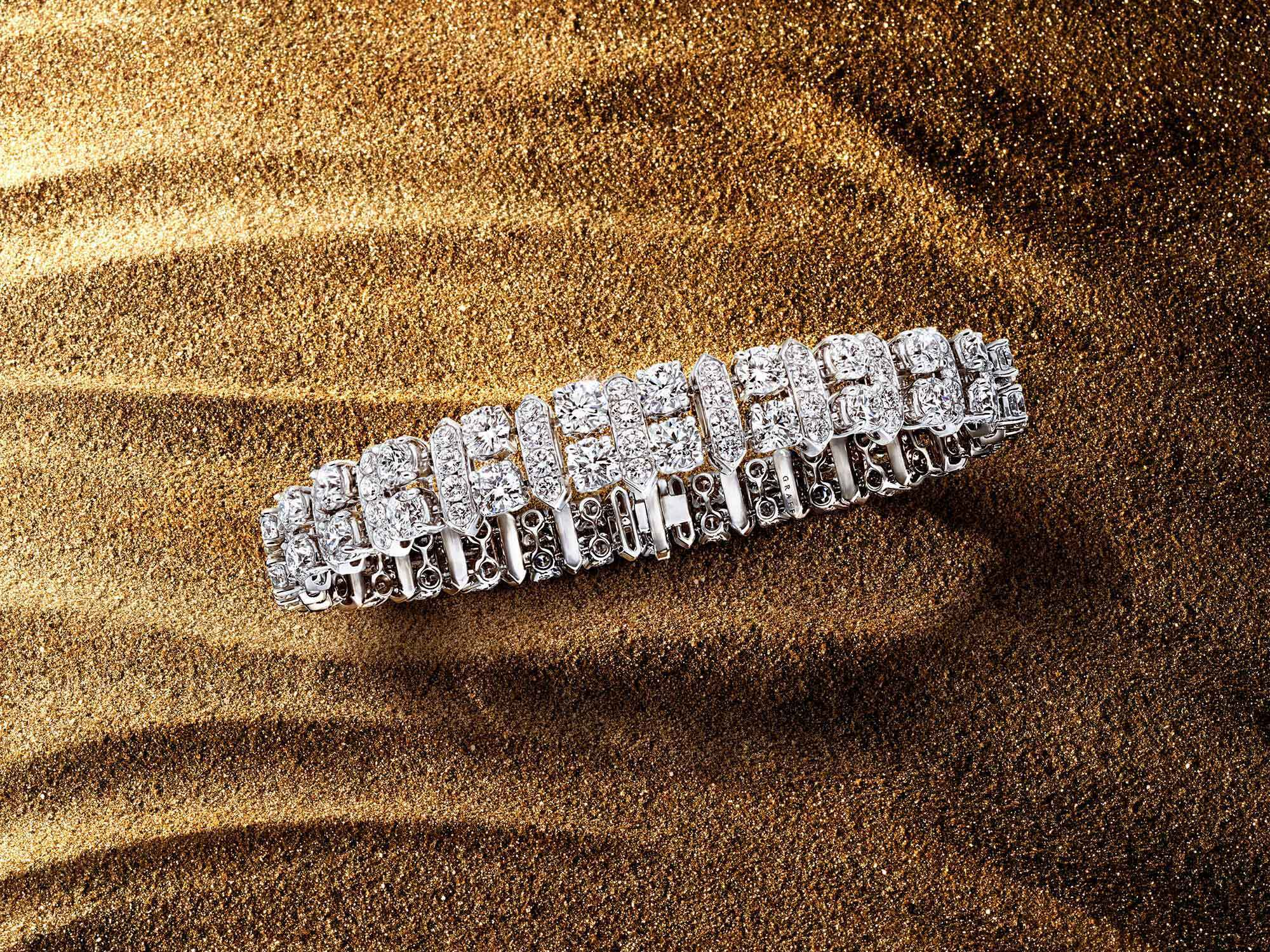 The Graff New Dawn diamond bracelet from the Tribal jewellery collection, on sand