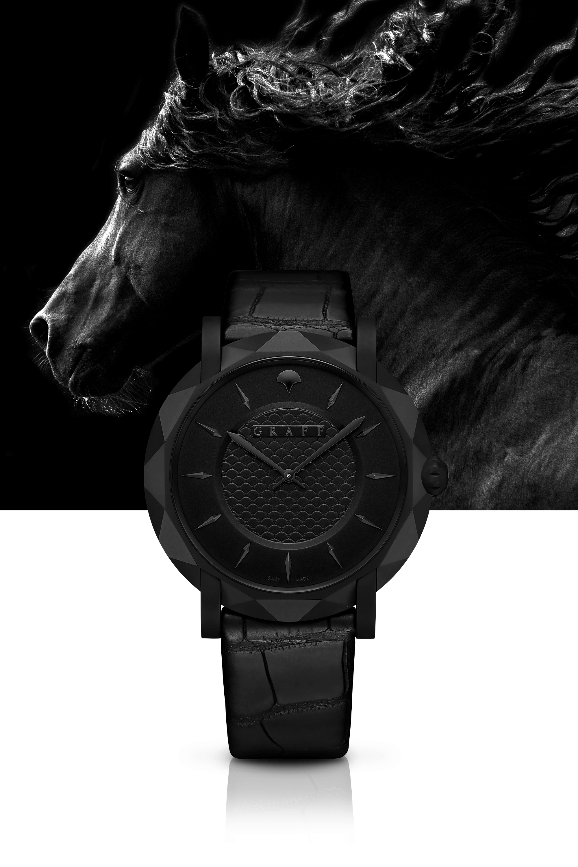 """Graff Slim Eclipse 43mm Watch BLACK DIAL, TITANIUM DLC with horse backgroung"""