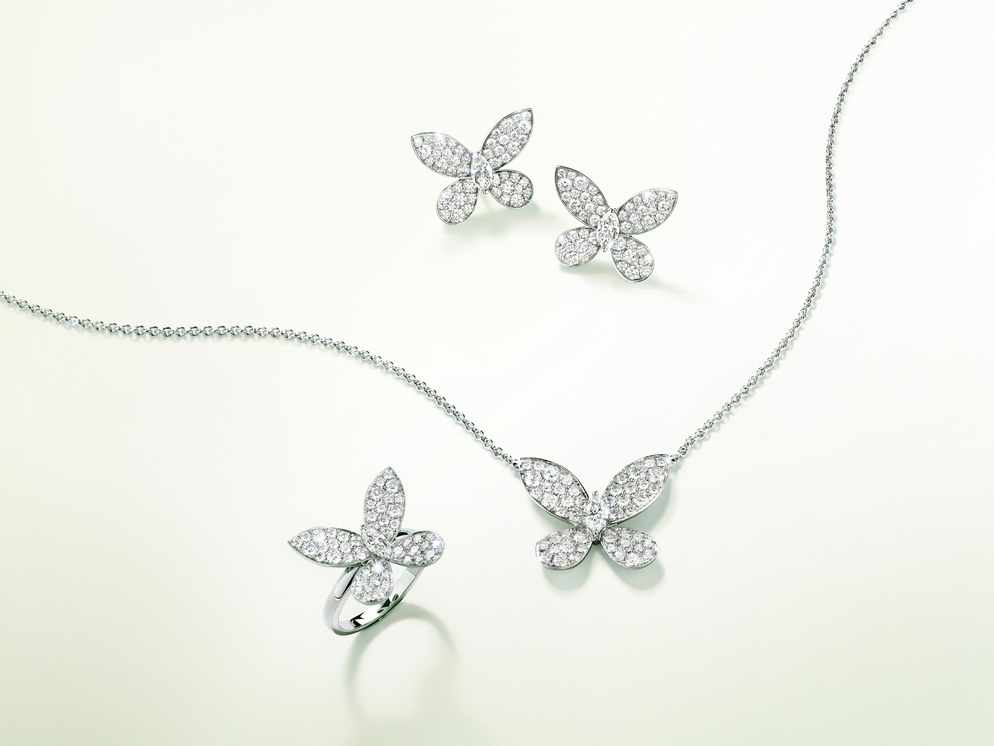 Graff Pavé Butterfly Diamond Mini Pendant, Pavé Butterfly Diamond Mini Stud Earrings and Pavé Butterfly Diamond Mini Ring WHITE GOLD.