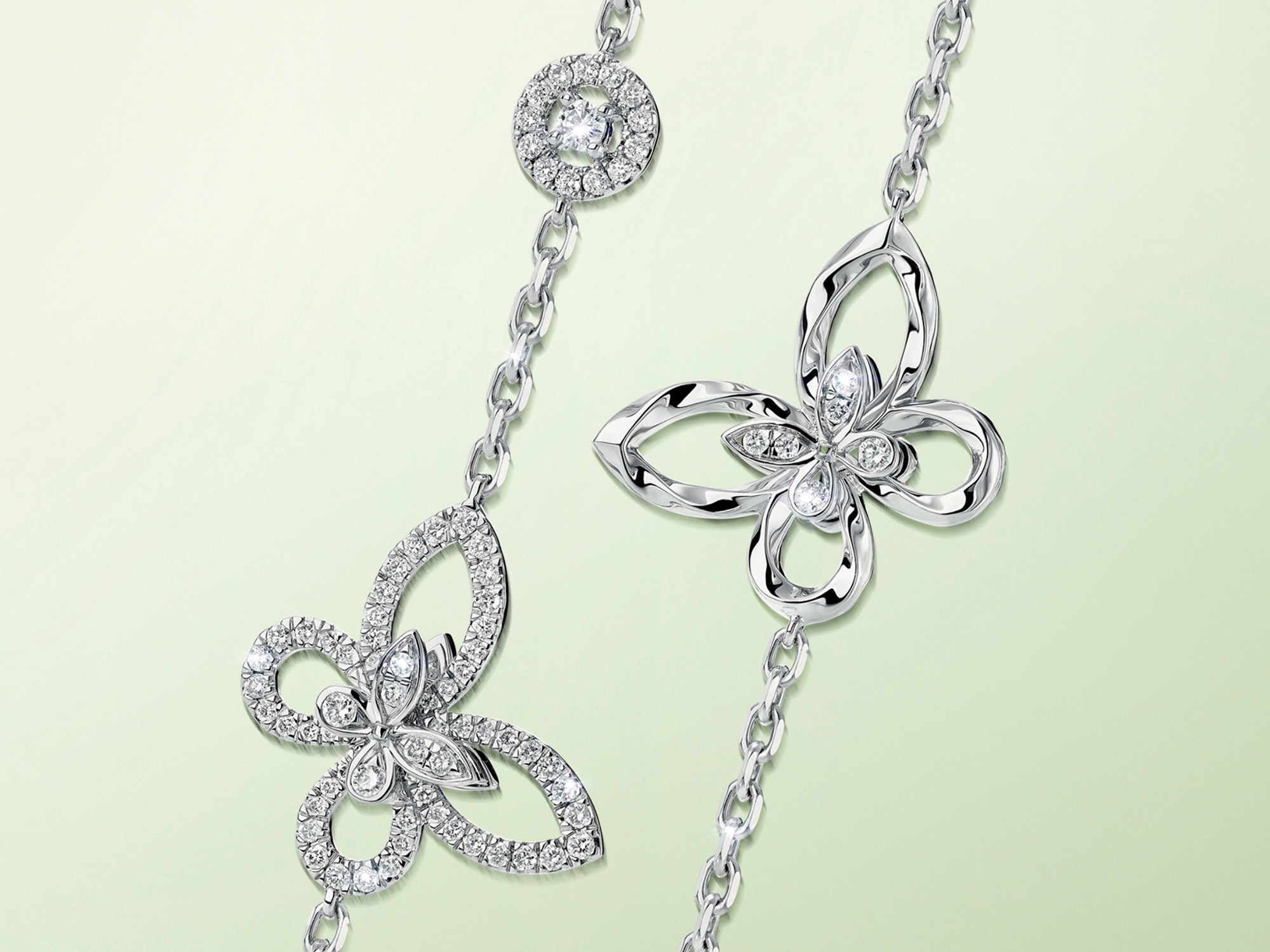 Graff Butterfly Silhouette Diamond Long Necklace