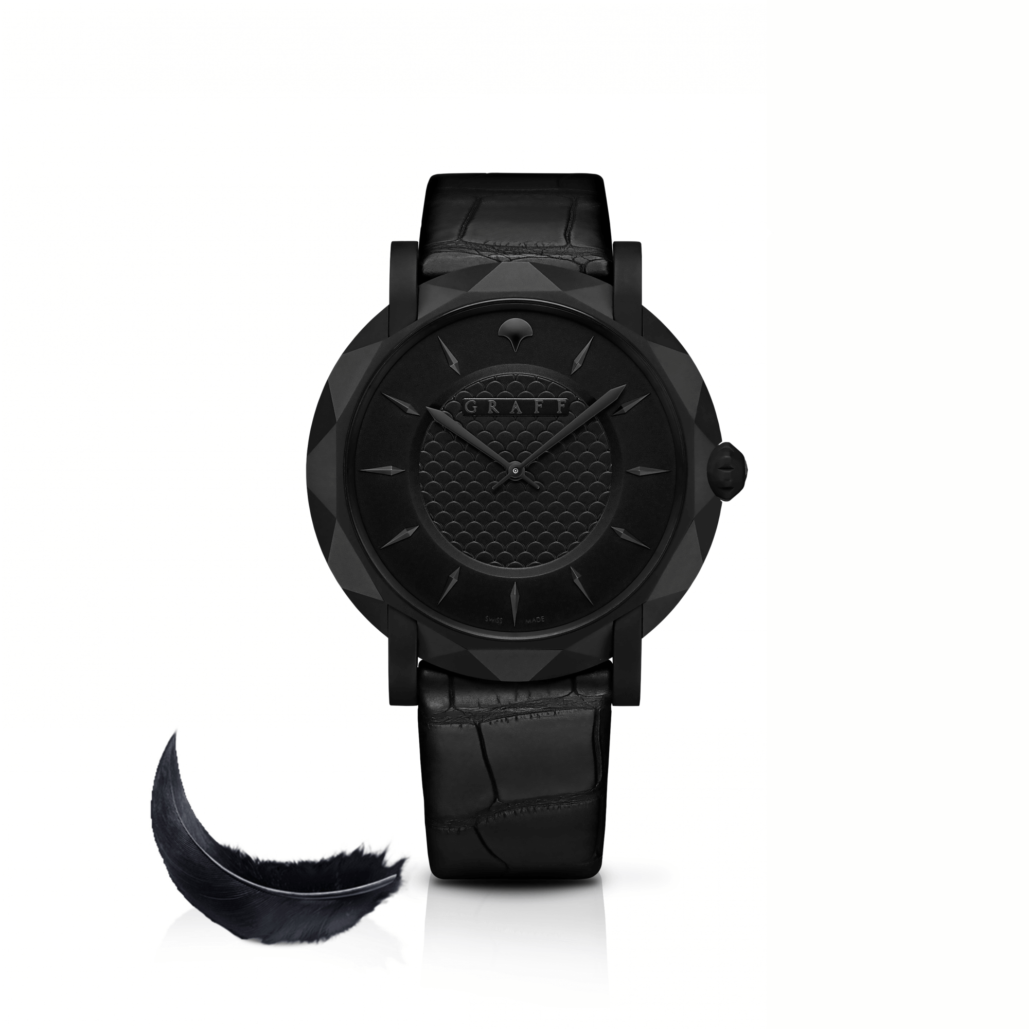 Graff Slim Eclipse 43mm Watch BLACK DIAL, TITANIUM DLC with a black feather on the side