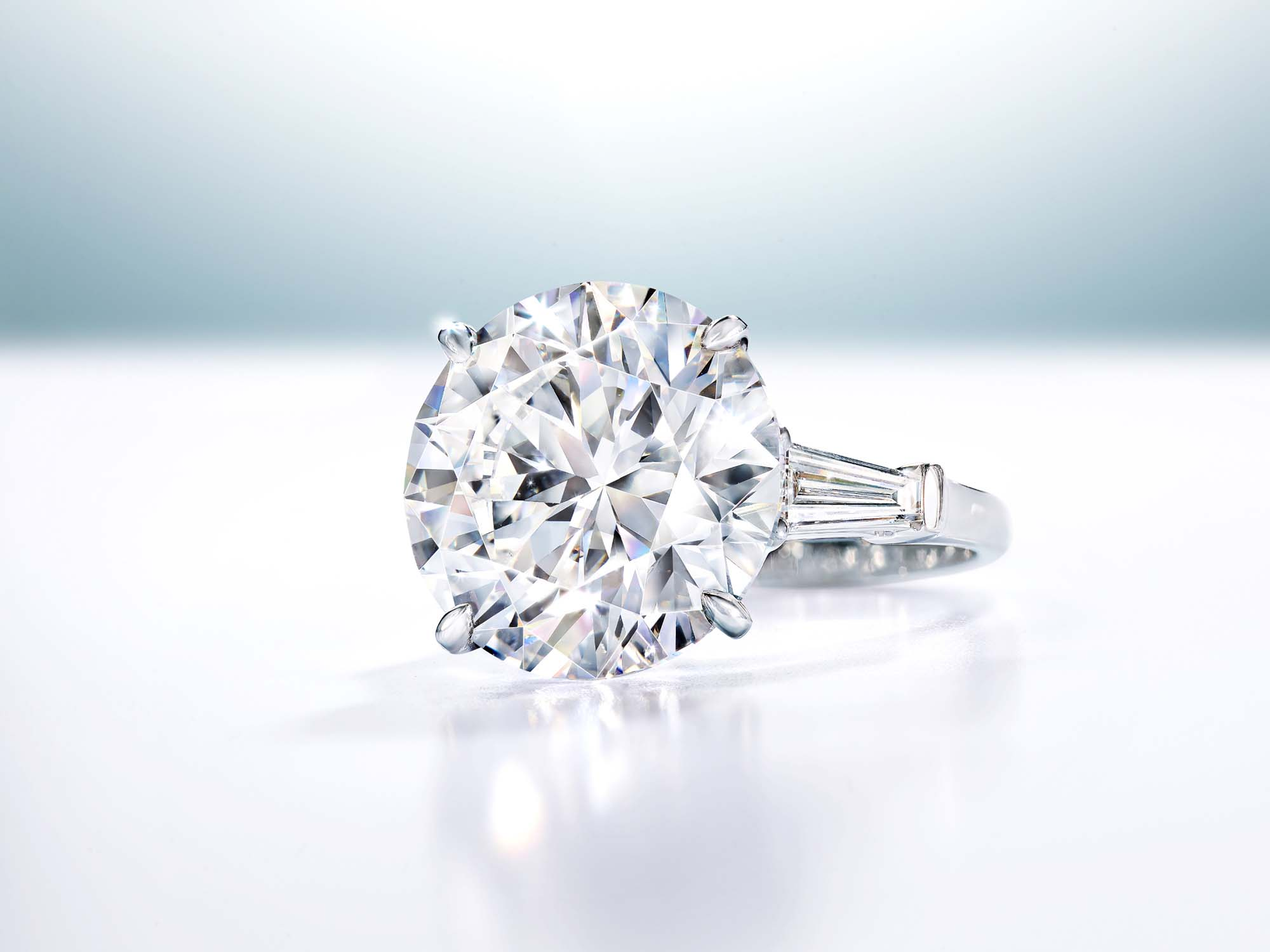 Promise Round Diamond Engagement Ring with baguette side stones from the Graff Bridal collection